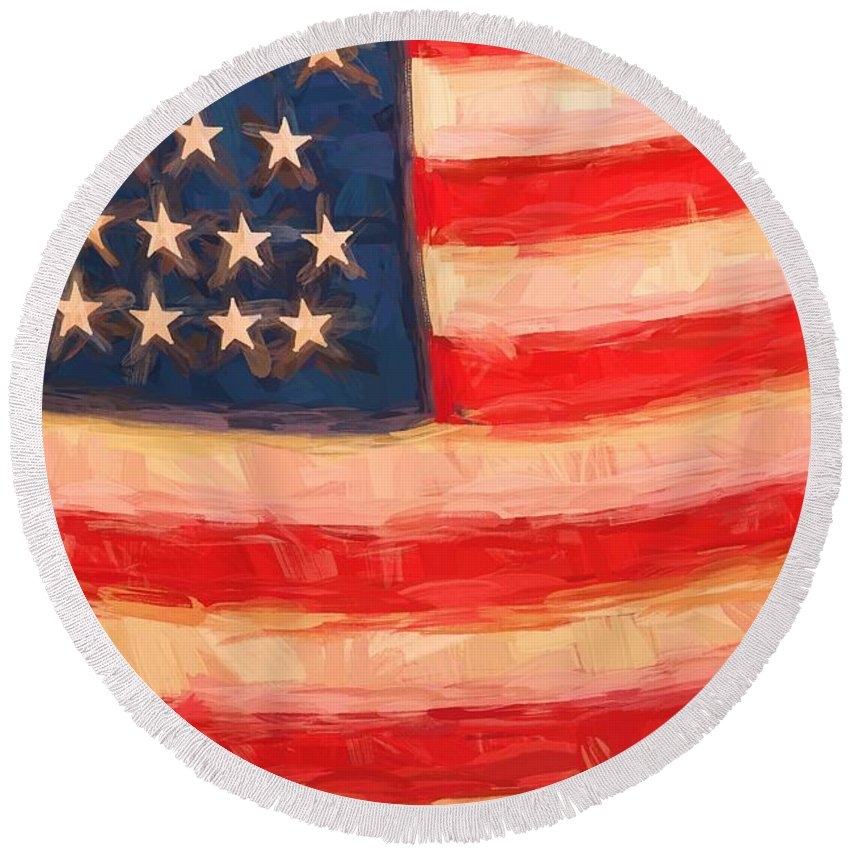 American Flag Round Beach Towel featuring the photograph American Colours by Alice Gipson