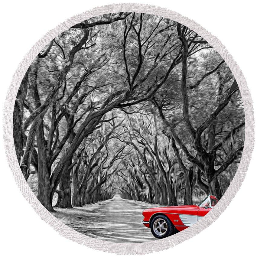 American Round Beach Towel featuring the photograph American Dream Drive Bw by Steve Harrington