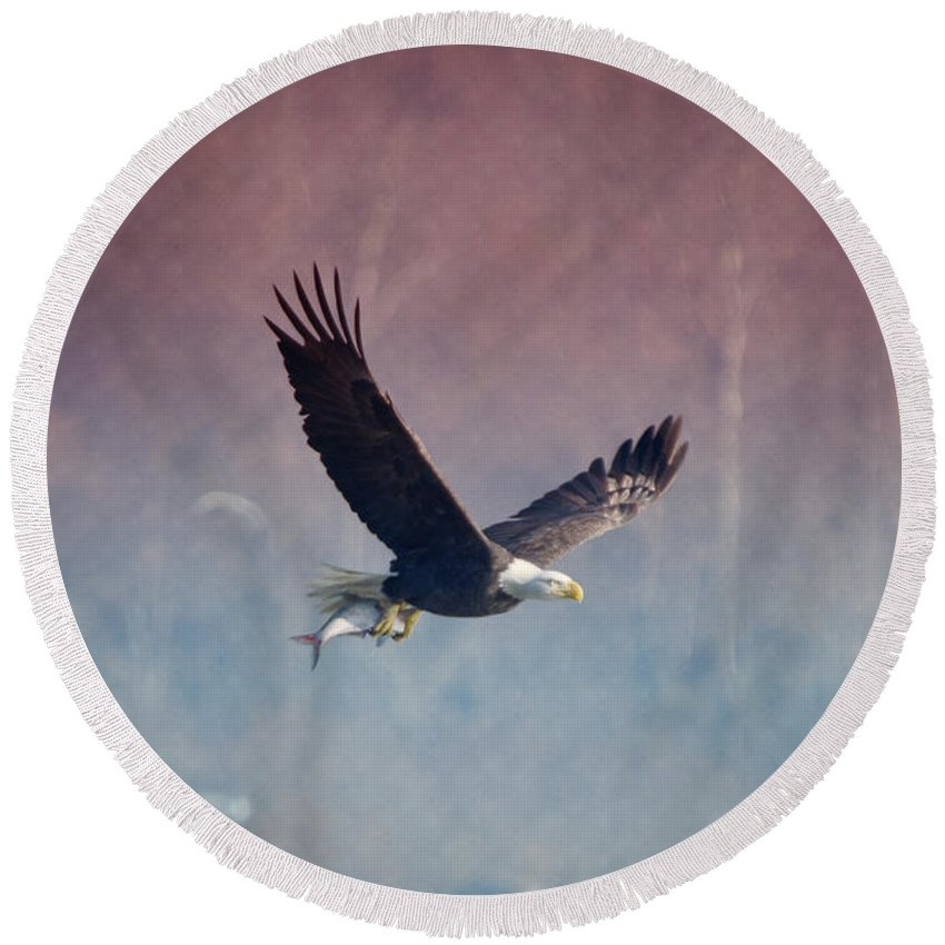 Bald Round Beach Towel featuring the photograph American Eagle by Crystal Wightman