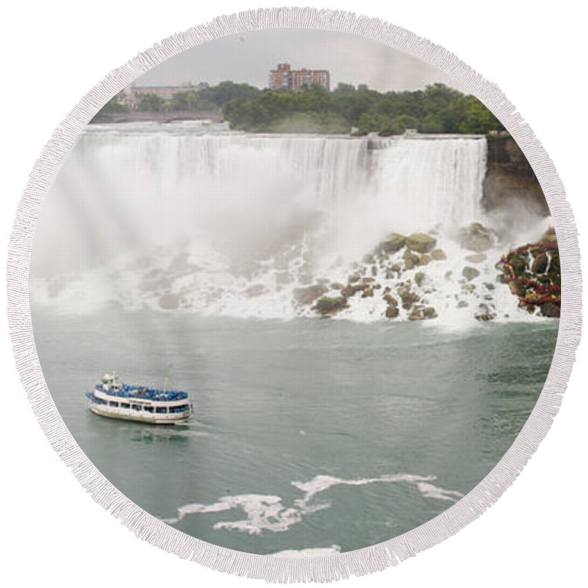 3scape Round Beach Towel featuring the photograph American Falls by Adam Romanowicz