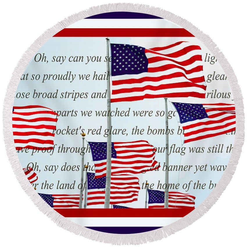 American Flags Round Beach Towel featuring the photograph American Flag Tribute by Regina Geoghan