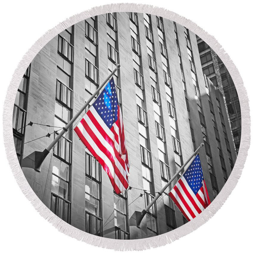 America Round Beach Towel featuring the photograph American Flags by Jaroslav Frank