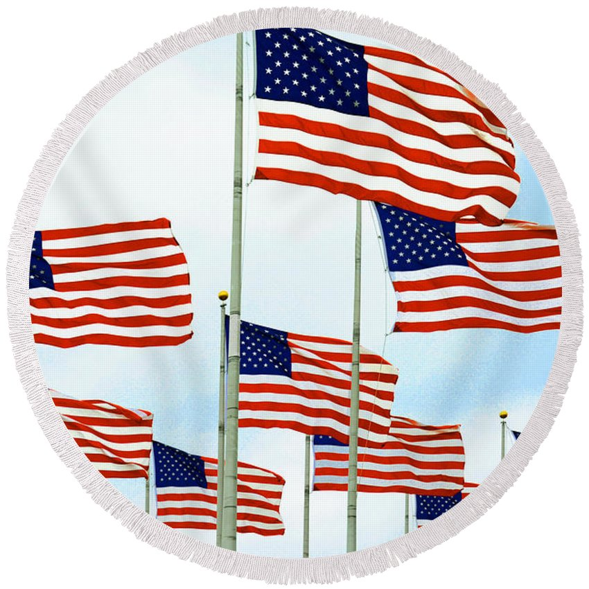 Flags Round Beach Towel featuring the photograph American Flags by Regina Geoghan