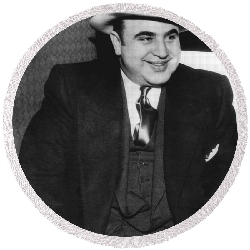 1035-790 Round Beach Towel featuring the photograph American Gangster Al Capone by Underwood Archives