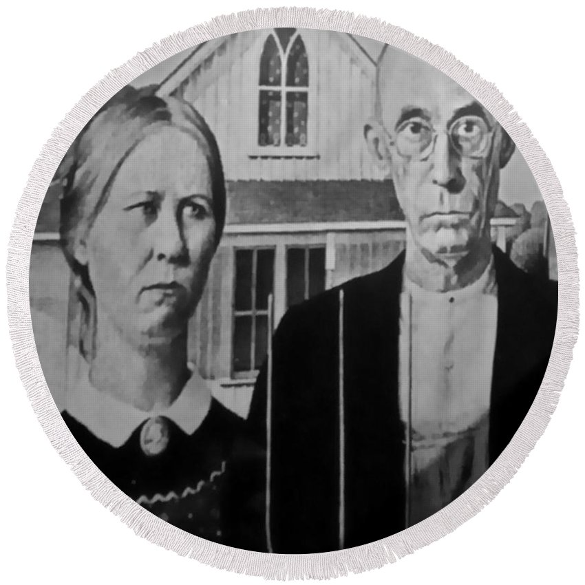 Americana Round Beach Towel featuring the photograph American Gothic In Black And White 1 by Rob Hans