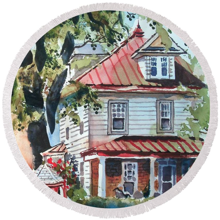 American Home With Children's Gazebo Round Beach Towel featuring the painting American Home With Children's Gazebo by Kip DeVore