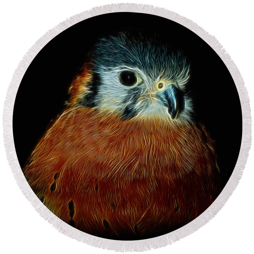 American Kestrel Round Beach Towel featuring the digital art American Kestrel Digital Art by Ernie Echols