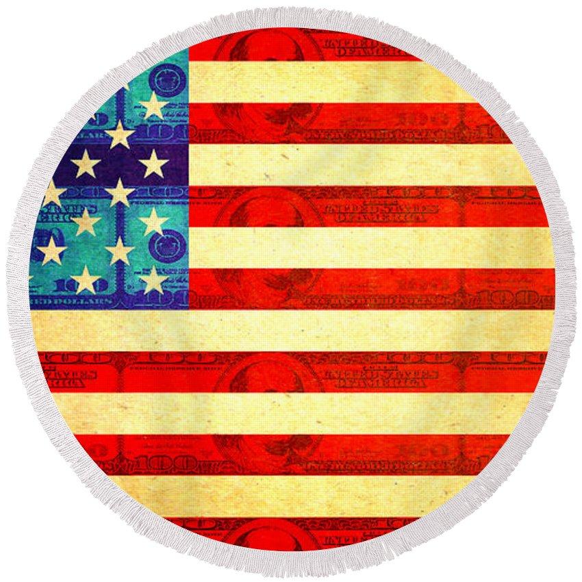 Aged Round Beach Towel featuring the digital art American Money Flag by Steve Ball