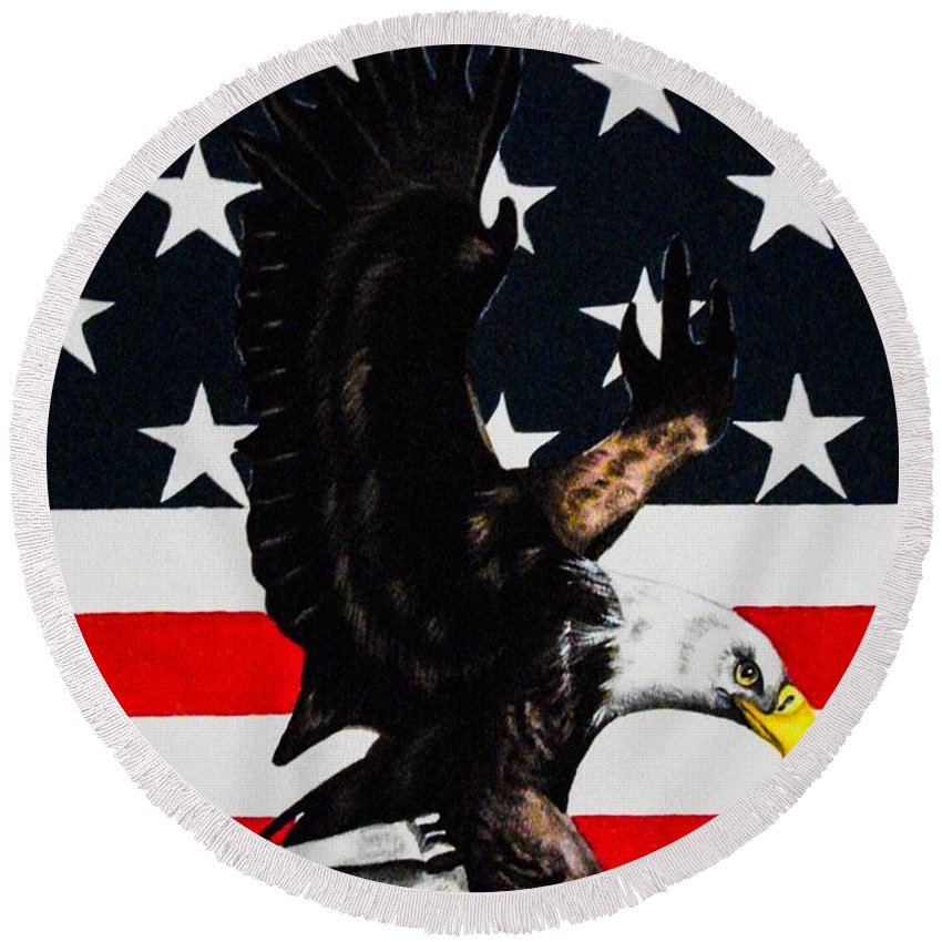 American. Flag. Bald Eagle. Bird. Patriotic. Nationalism. Red White Blue. Freedom. Democrat. Republican. Fine Art. Round Beach Towel featuring the painting American Pride by Dawn Siegler