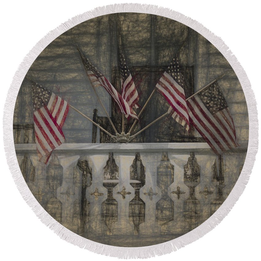Flags Round Beach Towel featuring the photograph Americana by David Kay