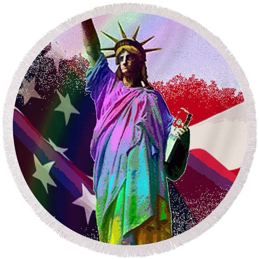 Statue Round Beach Towel featuring the digital art America's Statue Of Liberty by Michele Avanti