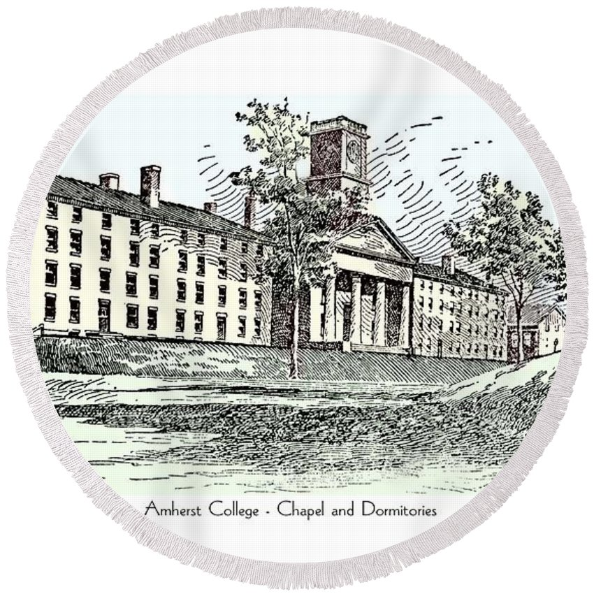 Amherst Round Beach Towel featuring the digital art Amherst College - Chapel And Dormitories by John Madison