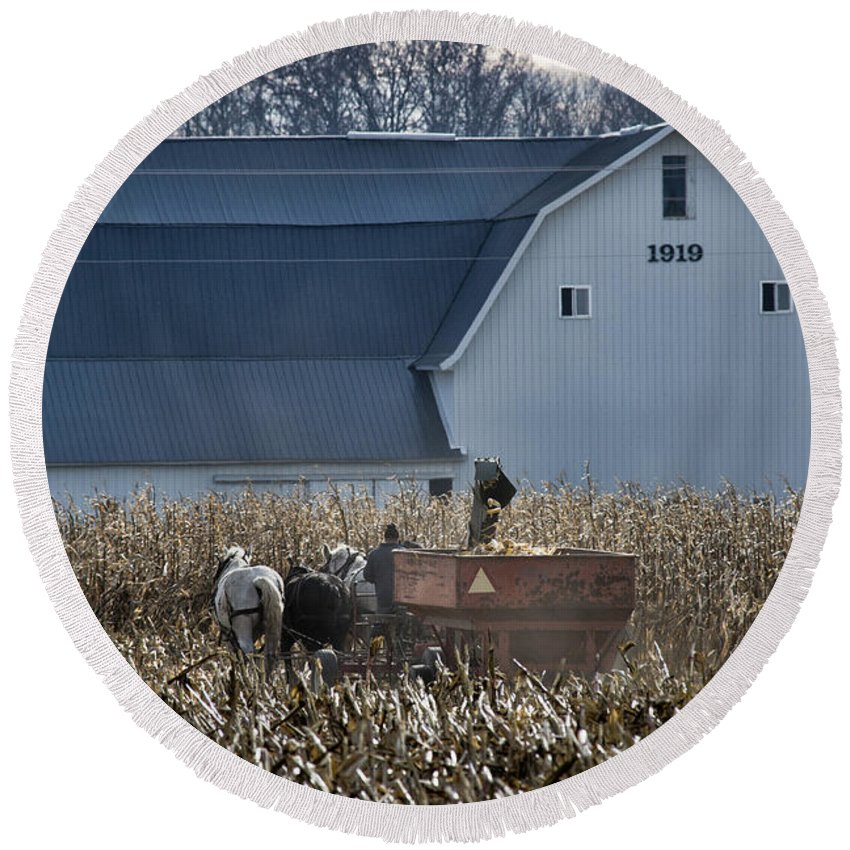 Barn Round Beach Towel featuring the photograph Amish Corn Picking And 1919 Barn by David Arment