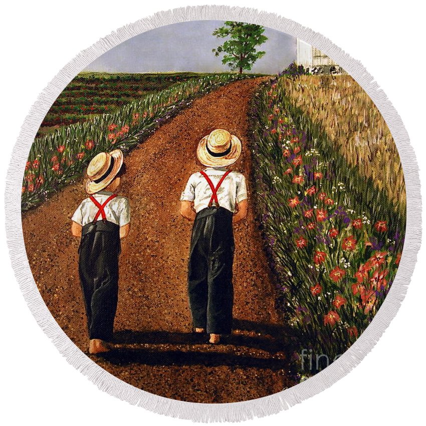 Lifestyle Round Beach Towel featuring the painting Amish Road by Linda Simon