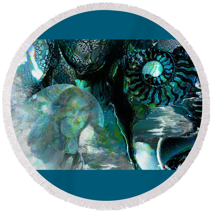 Ocean Round Beach Towel featuring the digital art Ammonite Seascape by Lisa Yount