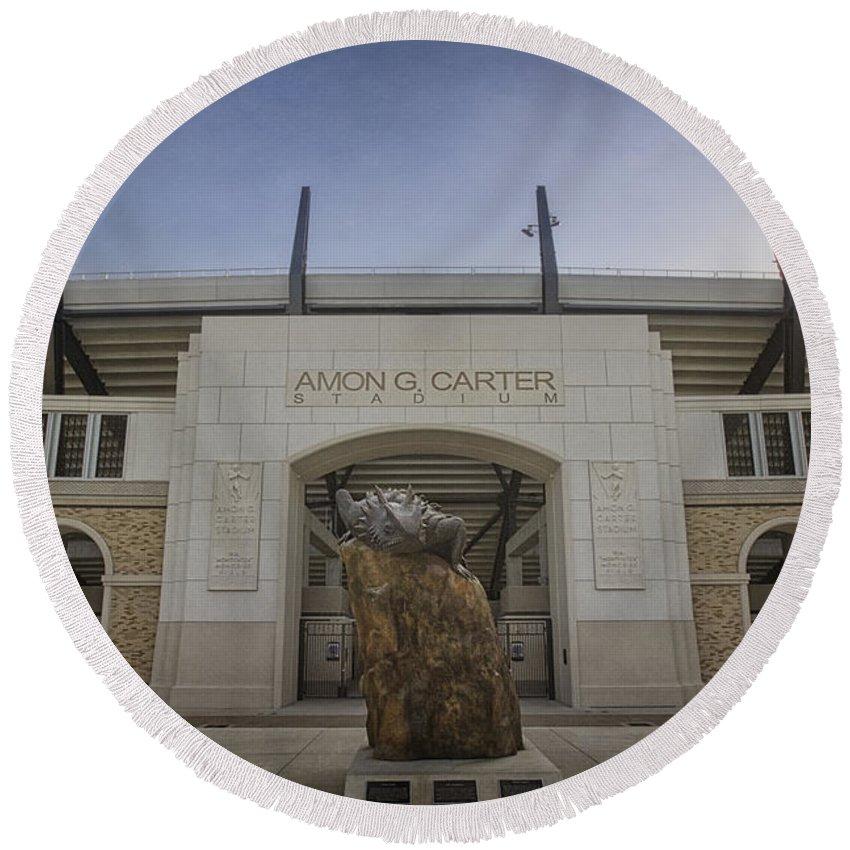 Tcu Round Beach Towel featuring the photograph Amon G Carter Stadium At Tcu by Joan Carroll