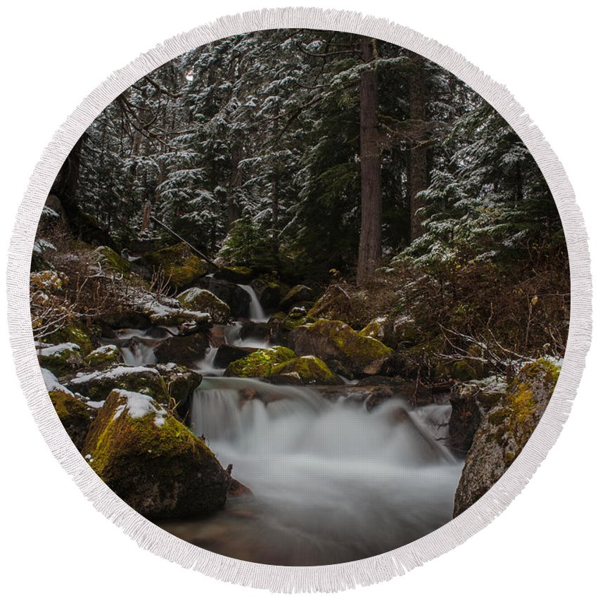 Stream Round Beach Towel featuring the photograph Amongst The Trees And Stones by Mike Reid