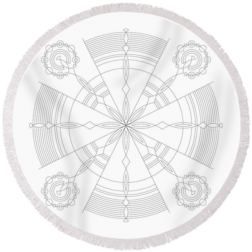 Relief Round Beach Towel featuring the digital art Amplitude by DB Artist