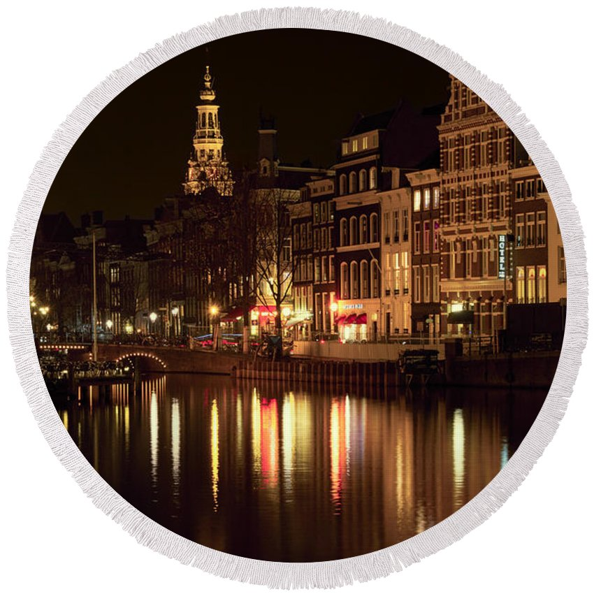 Amsterdam Round Beach Towel featuring the photograph Amsterdam At Night by Ann Garrett