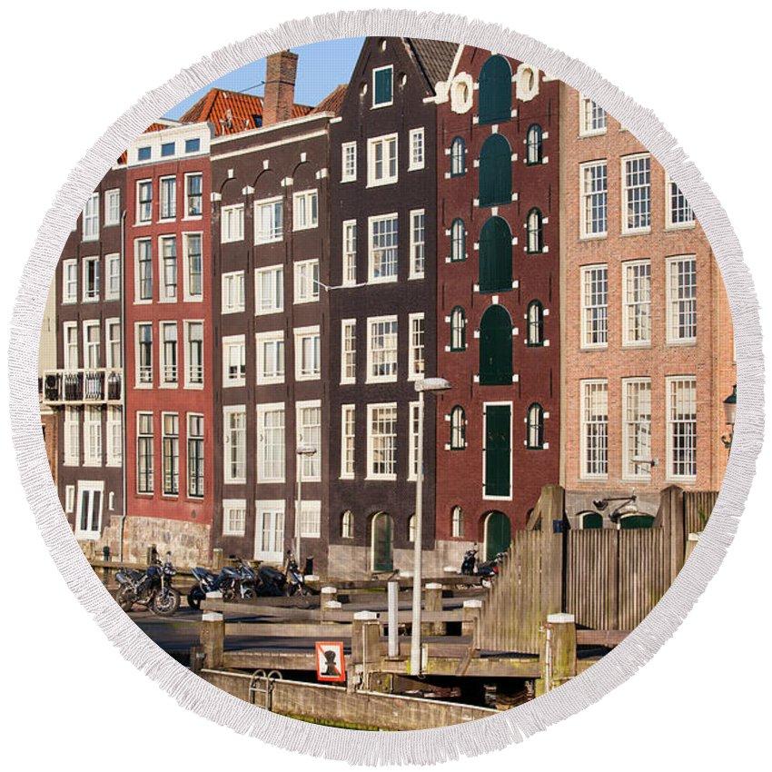 Amsterdam Round Beach Towel featuring the photograph Amsterdam Houses Ar Sunset by Artur Bogacki