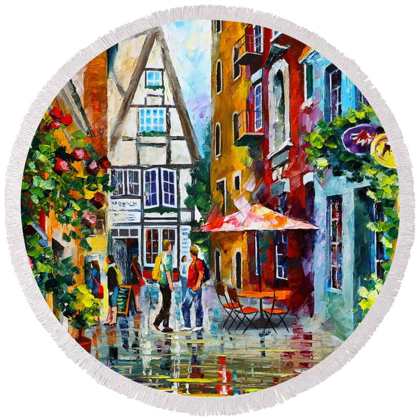 Afremov Round Beach Towel featuring the painting Amsterdam Street by Leonid Afremov