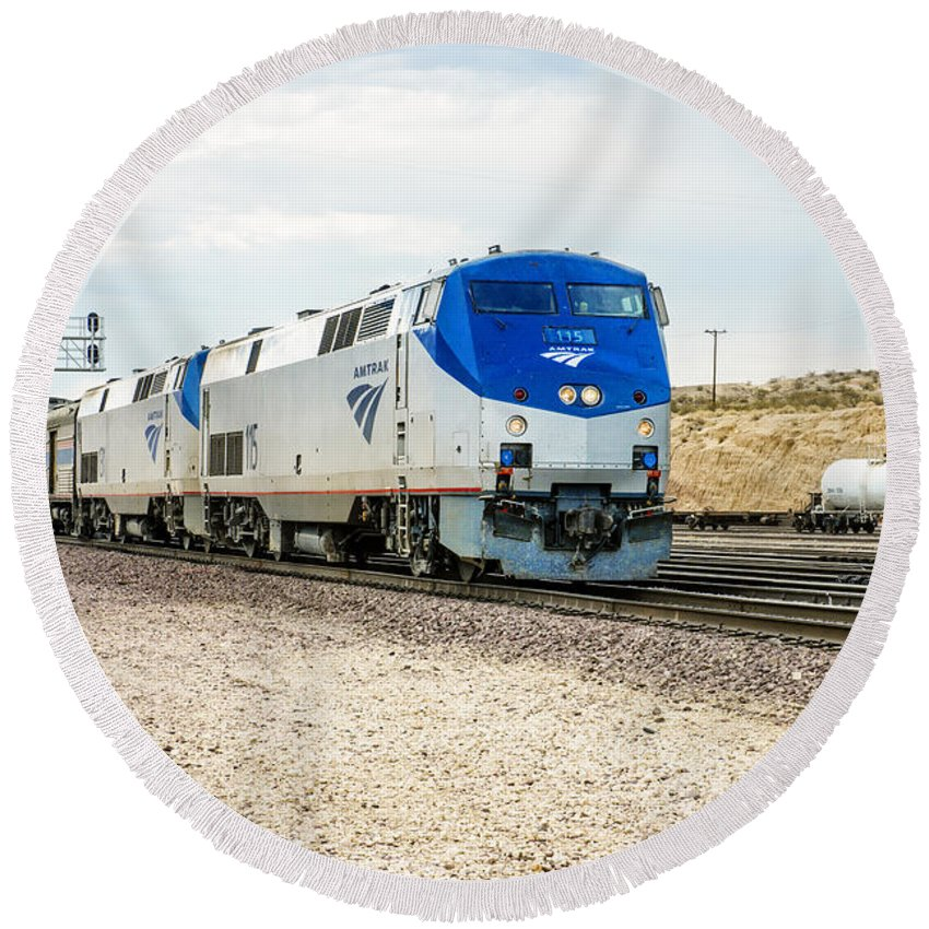 Amtrak Round Beach Towel featuring the photograph Amtrak by Jim Thompson
