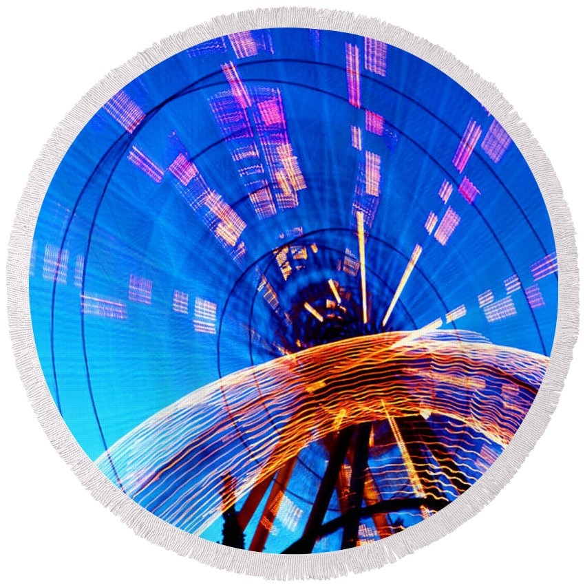Amusement Park Round Beach Towel featuring the photograph Amusement Park Rides 1 by Steve Ohlsen