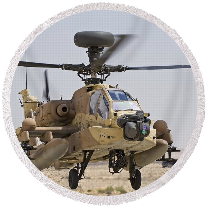 Transportation Round Beach Towel featuring the photograph An Ah-64d Saraf Attack Helicopter by Ofer Zidon