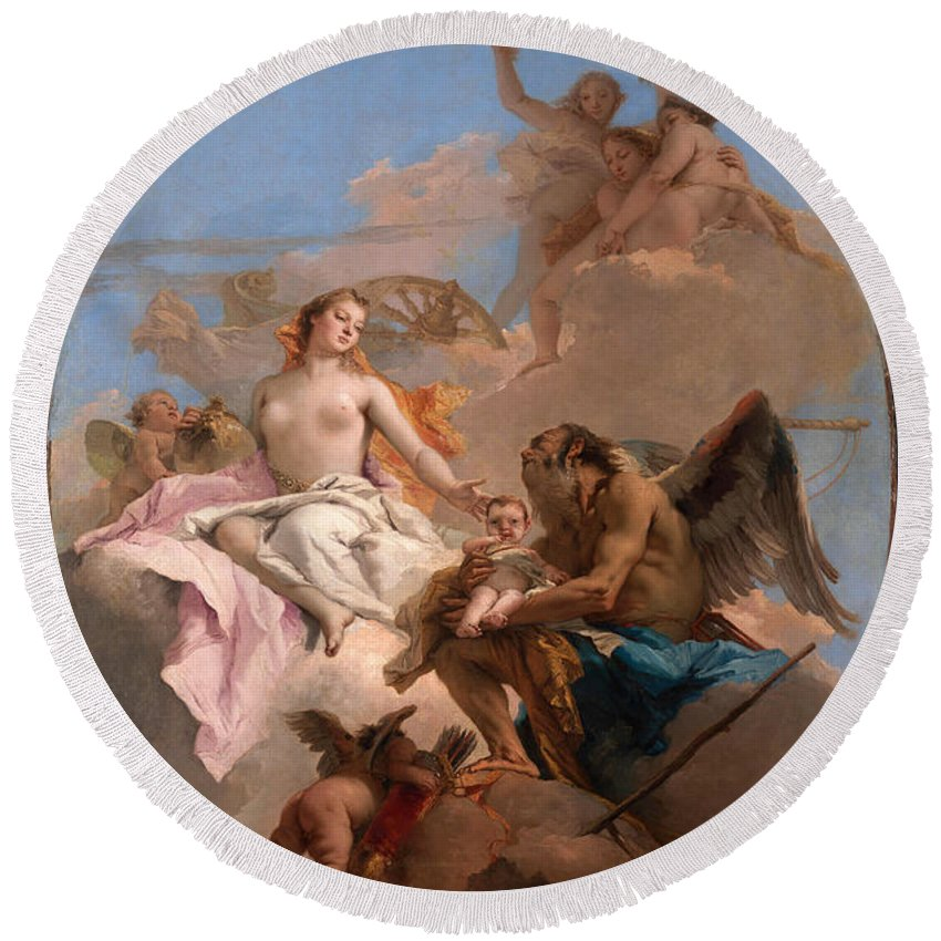 Giovanni Battista Tiepolo Round Beach Towel featuring the painting An Allegory With Venus And Time by Giovanni Battista Tiepolo