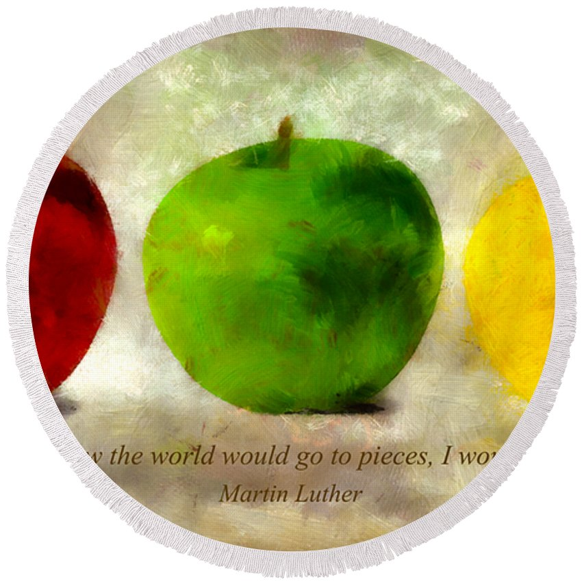 Apple Round Beach Towel featuring the mixed media An Apple A Day With Martin Luther by Angelina Vick