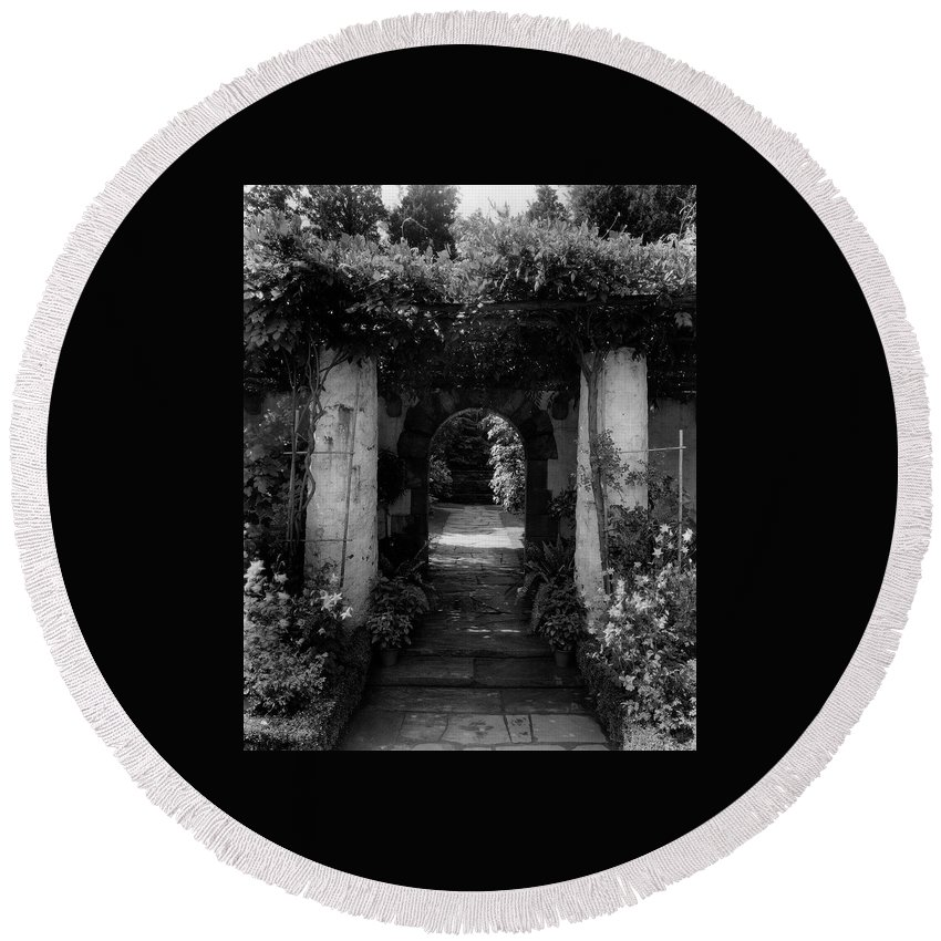 Exterior Round Beach Towel featuring the photograph An Archway In The Garden Of Mrs. Carl Tucker by Harry G. Healy