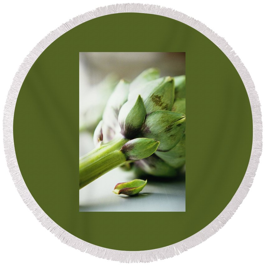 Fruits Round Beach Towel featuring the photograph An Artichoke by Romulo Yanes