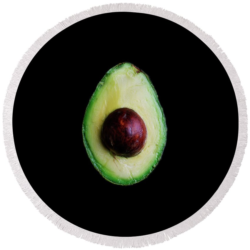 Fruits Round Beach Towel featuring the photograph An Avocado by Romulo Yanes