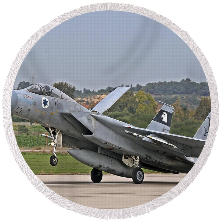 Aircraft Round Beach Towel featuring the photograph An F-15a Baz Of The Israeli Air Force by Ofer Zidon