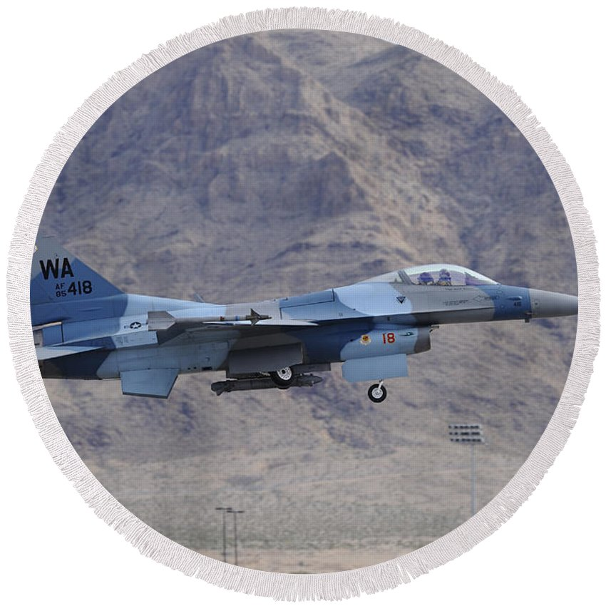 Horizontal Round Beach Towel featuring the photograph An F-16c Falcon Of The 65th Aggressor by Remo Guidi