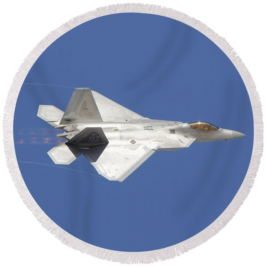 Horizontal Round Beach Towel featuring the photograph An F-22 Raptor In Flight Over Nellis by Remo Guidi