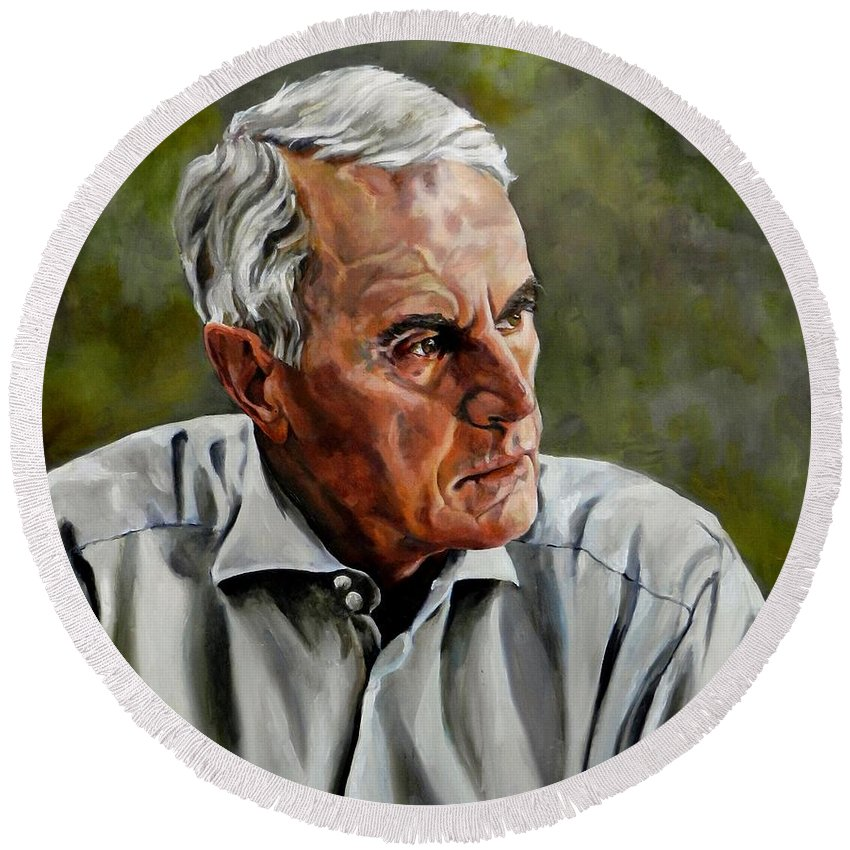 Portrait Round Beach Towel featuring the painting An Interesting Man - Viktor Hesse by Jolante Hesse