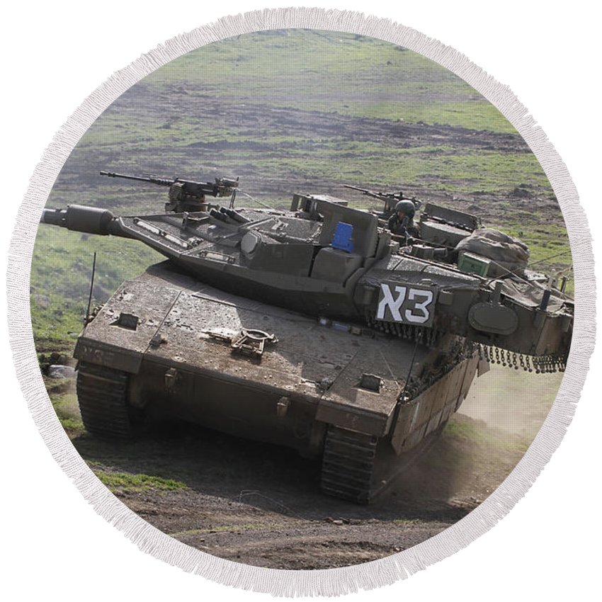Battletank Round Beach Towel featuring the photograph An Israel Defense Force Merkava Mark Iv by Ofer Zidon