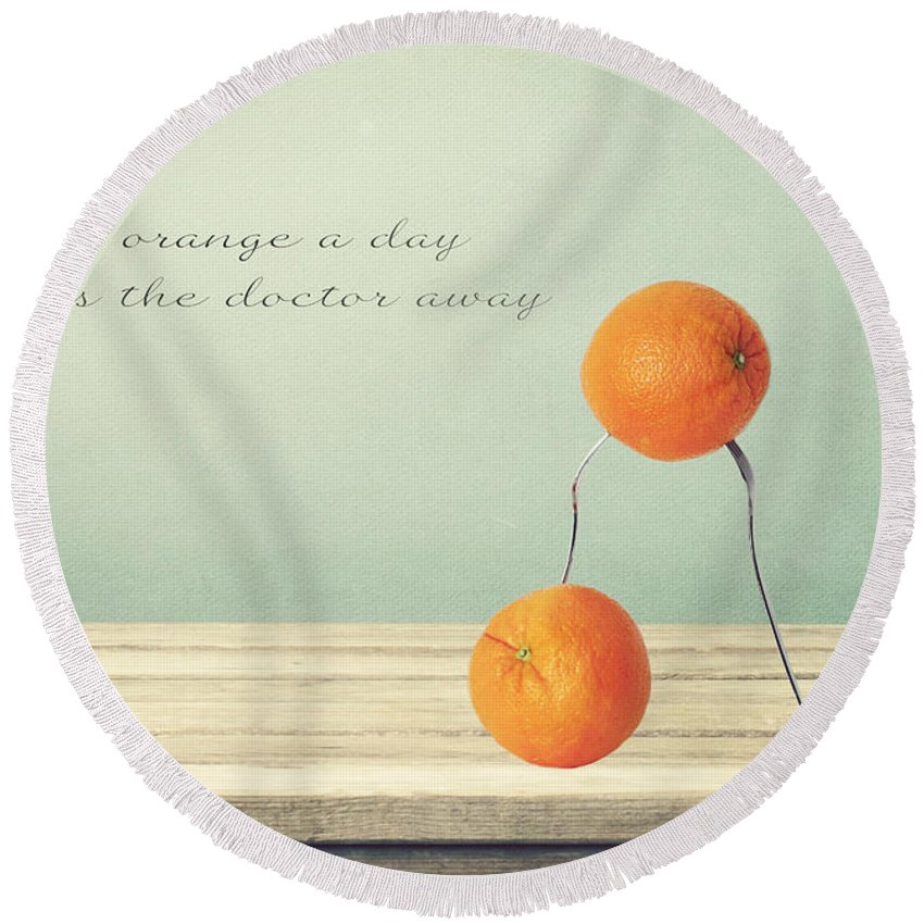 Orange Round Beach Towel featuring the photograph An Orange A Day by Heike Hultsch