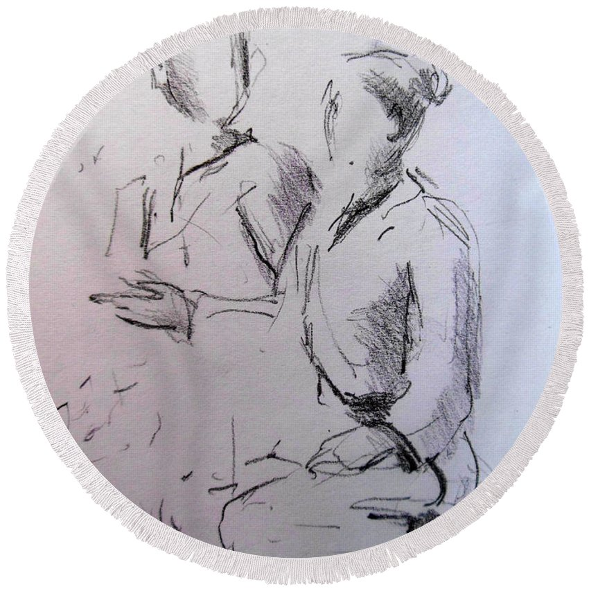 Ana And Patrick Ni Round Beach Towel featuring the drawing Ana And Patrick Ni by Lucia Hoogervorst