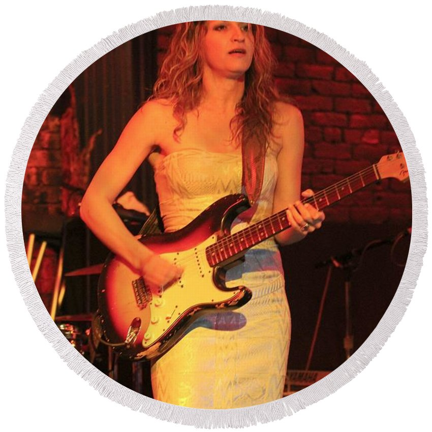 Serbian Round Beach Towel featuring the photograph Guitarist Ana Popovic by Concert Photos