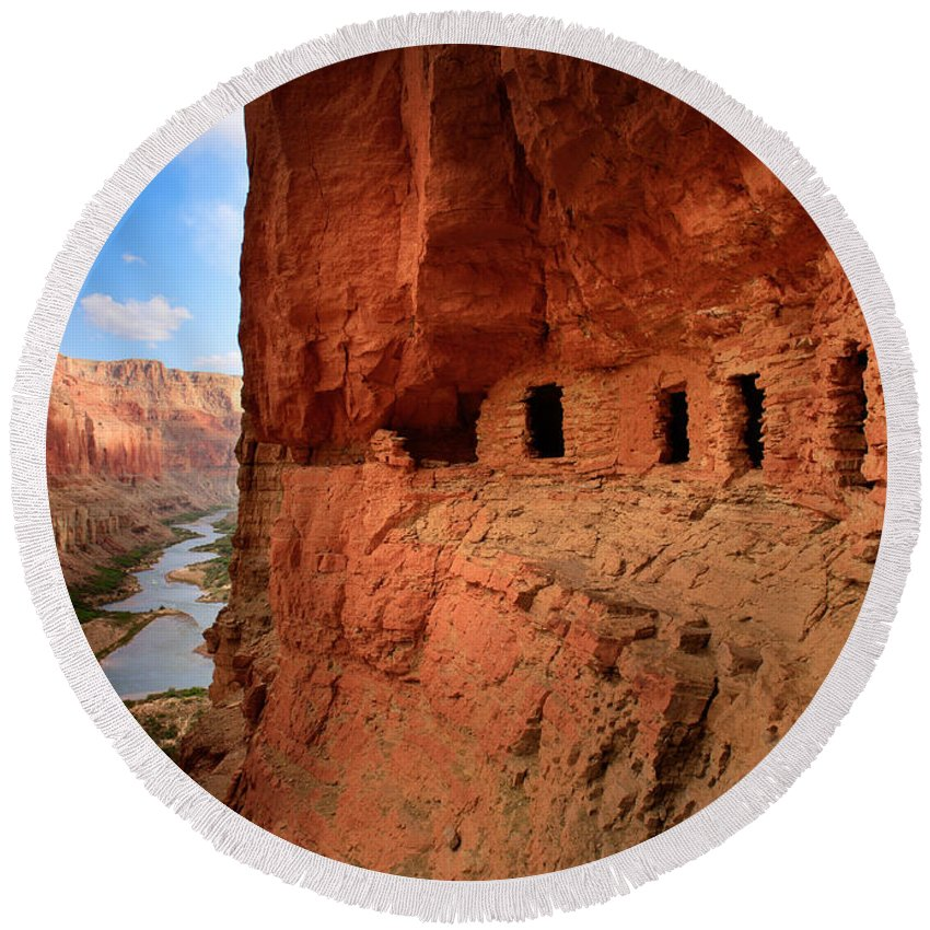 Cliff Dwellings Round Beach Towels