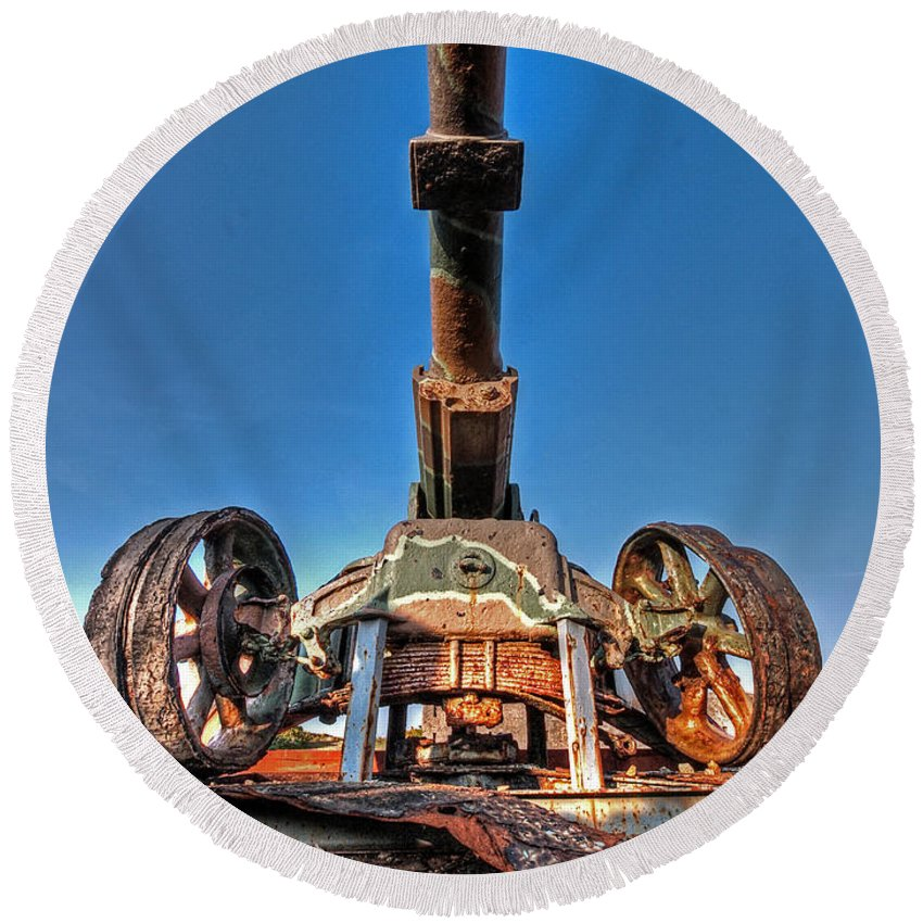 Cannon Round Beach Towel featuring the photograph Ancient Cannon From Ww2 by Gill Billington