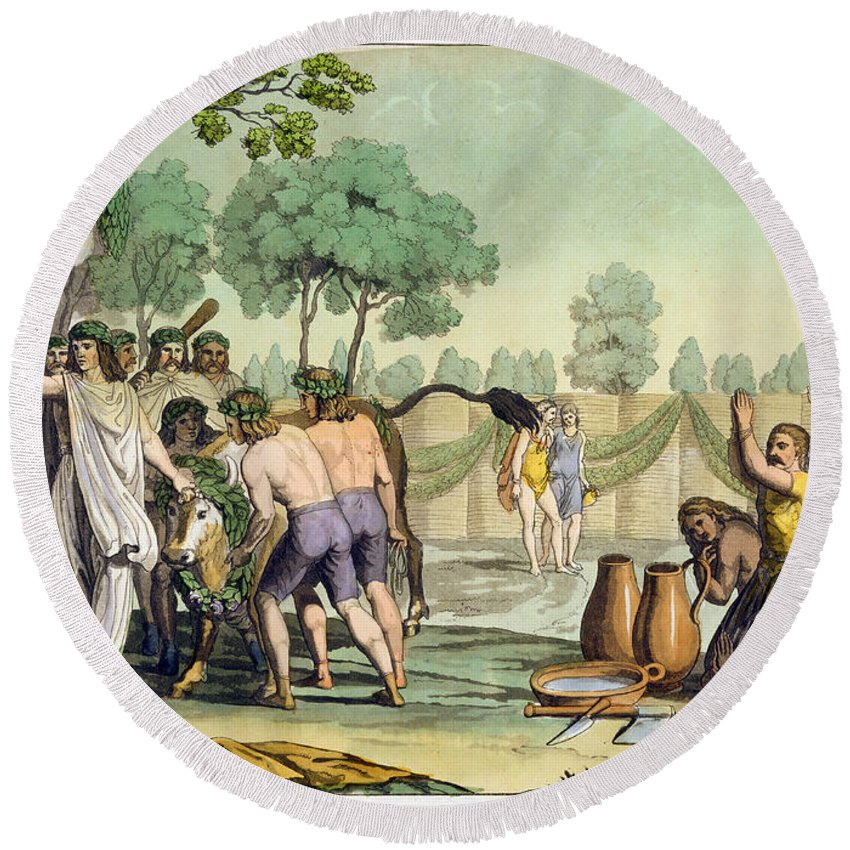 Sacrifice Round Beach Towel featuring the drawing Ancient Celts Or Gauls Sacrificing by Vittorio Raineri