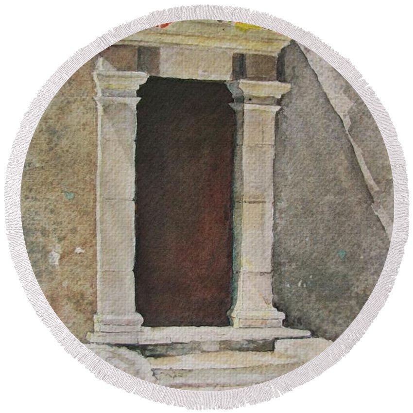 Antique Doorway Round Beach Towel featuring the painting Ancient Doorway by Mary Ellen Mueller Legault