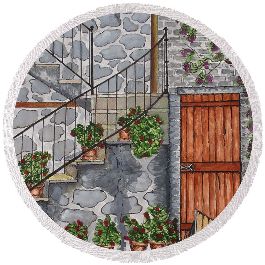 Print Round Beach Towel featuring the painting Ancient Grey Stone Residence by Ashley Goforth