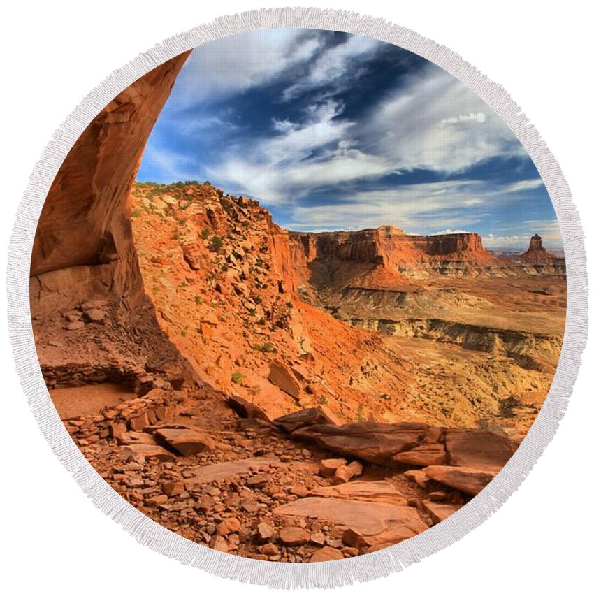 Canyonlands Round Beach Towel featuring the photograph Ancient Observatory by Adam Jewell