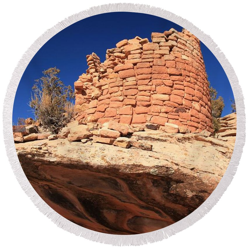 Canyon Of The Ancients Round Beach Towel featuring the photograph Ancient Pueblo by Adam Jewell