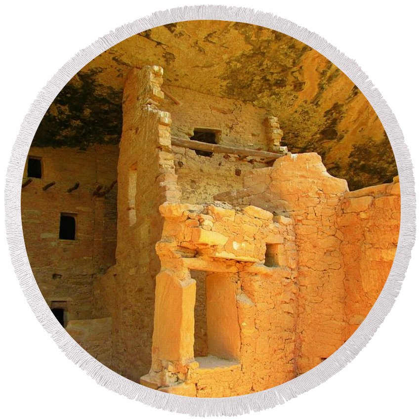 Pueblo Indians Round Beach Towel featuring the photograph Ancient Pueblo Dwelling Ruins Two by John Malone