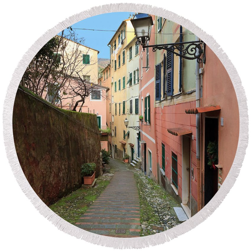 Ancient Round Beach Towel featuring the photograph ancient street in Sori by Antonio Scarpi